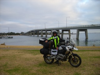 Phillip Island Bridge-Melbourne Victoria Australia. The first 5,000 km round the world supberbike riders.